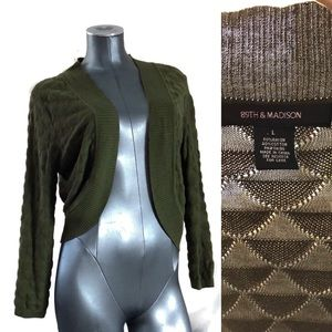 89th & MADISON high quality olive open cardigan